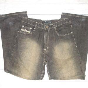 Qruel Jeans Mens 32 30 Trendy Fade Black